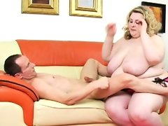 Guy pleasuring hot chubby