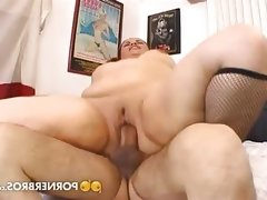 Pigtailed chubby slammed by a thin guy