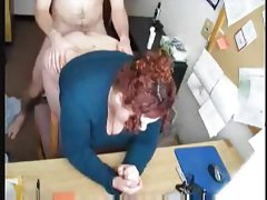 Redhead bbw secretary in the office