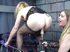 Ankle bound blonde gets fucked with..