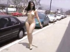 Curvy girl walking public