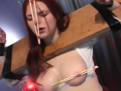 Redhed babe with tits torture body..