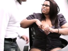 Married boss cheating with fat ebony..